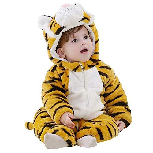 Bébé Barboteuse Enfant Flanelle Pyjama Filles Combinaison Garçons Grenouillères Costume Tenue d'hiver Style Animal (Tiger,80cm)
