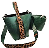 2 Unids/Set Bolsas Cubo para Mujeres Nueva Mujer PU de Cuero Bolsos Crossbody Pequeños Bolsos Estampados de Leopardo Green