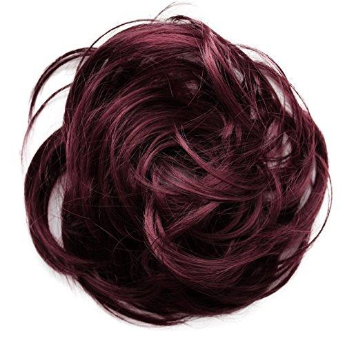 PRETTYSHOP Haarteil Haargummi Hochsteckfrisuren unordentlicher Dutt leicht gewell. Farbe: weinrot G27B