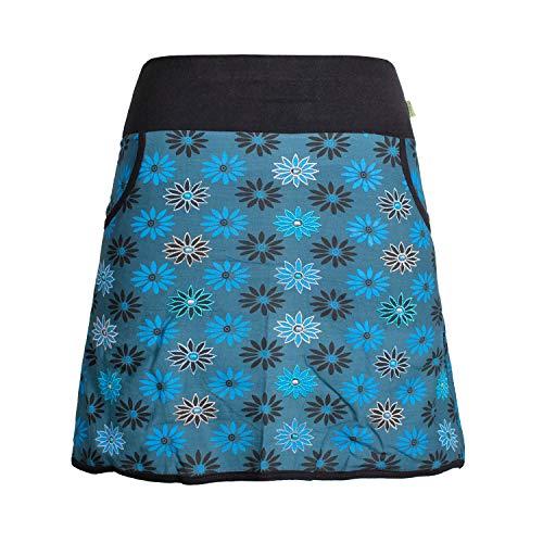 Vishes - Alternative Bekleidung - Damen Baumwoll-Rock mit 70er Jahre Retro Blumen Bedruckt und Taschen türkis 40