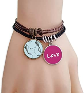 Simple Geometry Hand Painted Kite Pattern Love Bracelet Leather Rope Wristband Couple Set