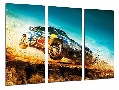 Cuadro Fotográfico Coche Carreras Rally en Paisaje Desierto Red Bull, Azul Tamaño total: 97 x 62 cm XXL