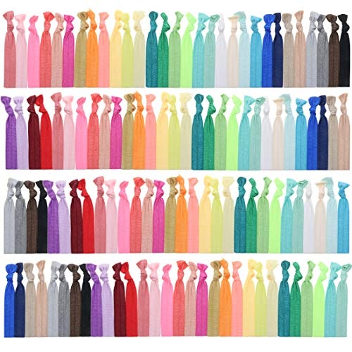 120 No Crease Ribbon Elastics Hair Ties Women Yoga Knotted Ponytail Holder Assorted Color