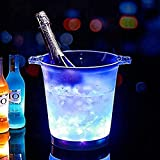 LED Ice Bucket Cooler Bucket, Wine Cooler Waterproof with Colours Changing, Retro Champagne Wine Drinks Bucket, for Party, Home, Bar, Etc