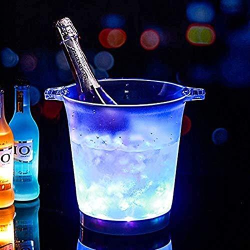 Secchiello per Il Ghiaccio a LED Secchiello refrigerante Rotondo con Doppio Manico Luminoso, Contenitore Ricaricabile colorato Birra Champagne Vino Rosso Barbecue, Evento, Celebration Party Bar KTV