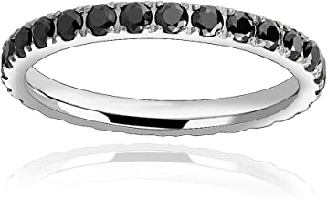 FlameReflection Titanium CZ Eternity Rings for Women, Infinity Engagement, Wedding Anniversary Band Stackable Rings, Rose Black White Gold Color Ring Size 5 6 7 8 9 10 11
