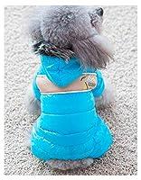 チワワのような小型犬のためのペットの小型犬の暖かいコート猫の子犬のパーカーの厚いジャケットの服装服、ペットのダウンジャケット blue-S