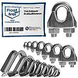 10 morsetti per fune metallica antiruggine adatti per filo di diametro 2 mm, in acciaio inox V4A per cavi in acciaio/filo d'acciaio/corda in acciaio zincato.