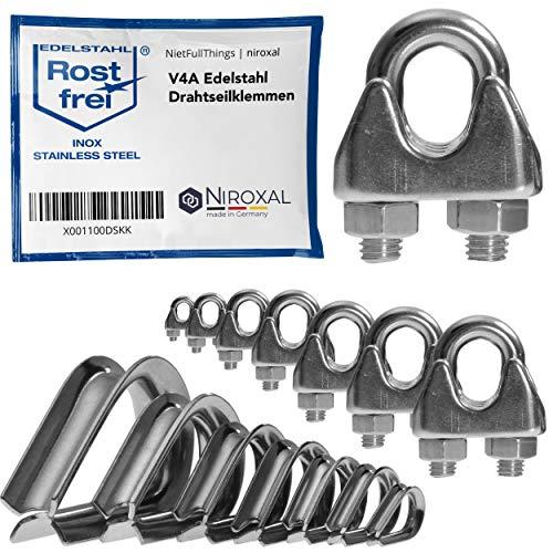 4 Stück rostfreie Drahtseilklemme/Bügelseilklemme passend für Ø 3 mm Draht | im Set mit passender Kausche | aus V4A Edelstahl für Stahlkabel/Stahldraht/Stahlseil/Seil verzinkt