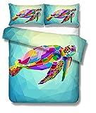 Ste-X Juego De Funda Nórdica Juego De Cama con Diseño De Tortuga De Mar De Color Patrones De La Moda 3D Funda Y Funda De Almohada De Diseño Personalizado ((180x220 cm)-Cama de 105/135,Colorear)