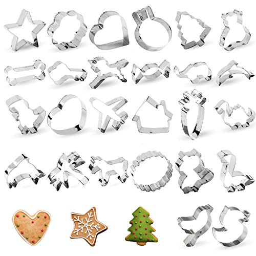 Cookie Cutters, 26 PCS Star Heart Cookie Cutters Shapes, TAOUNOA Metal Cookie Cutters for Christmas, for Kids, for Cakes, Muffins.
