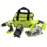 Ryobi P825 18V One+ Cordless Lithium Ion Power Tool Starter Kit (Includes 1/2' Drill / Driver, 5 1/2' Circular Saw, Compact Battery, Charger, and Contractor's Bag)
