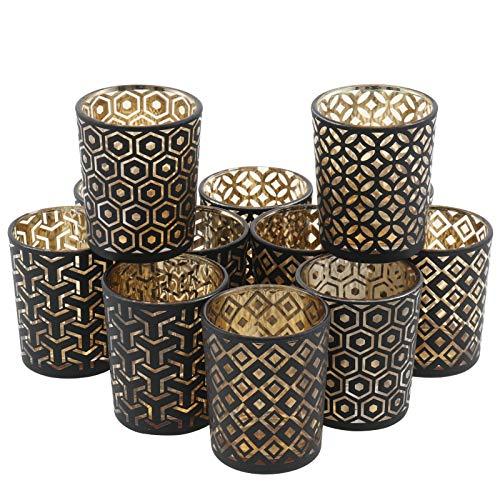 WIOR Juego de portavelas votivos de oro a granel, de vidrio de mercurio, portavelas con 12 vasos de vela, portavelas de cristal,...