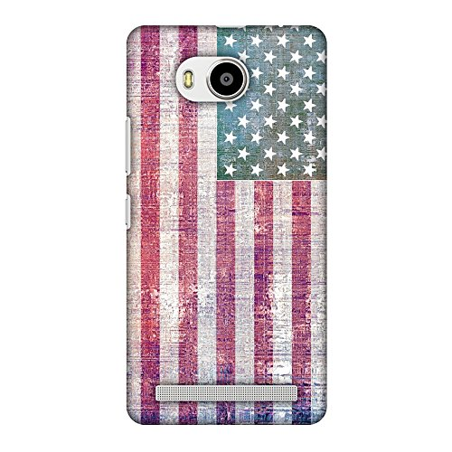 AMZER Slim Fit Handcrafted Designer Printed Snap On Hard Shell Case Back Cover for Lenovo A7700 - USA Flag- Wood Texture HD Color, Ultra Light Back Case