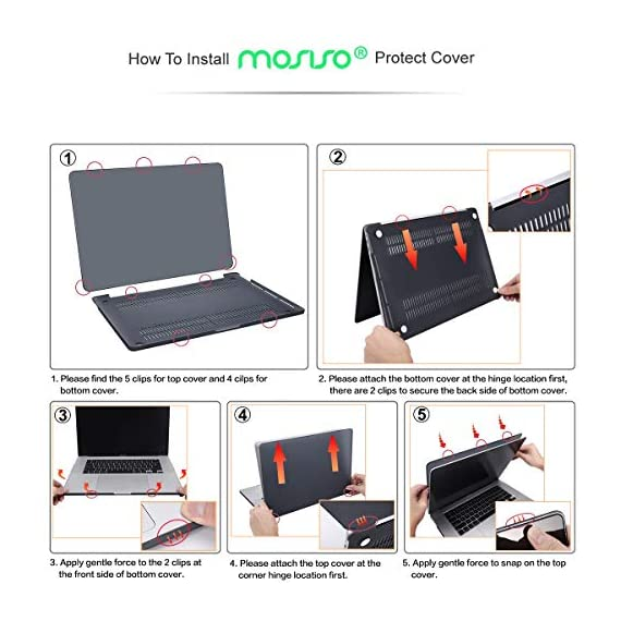 "MOSISO Compatible with MacBook Pro 16 inch Case 2020 2019 Release A2141 with Touch Bar Touch ID, Ultra Slim Protective… 6 The case was designed ONLY to be compatible with MacBook Pro 16 inch with Touch Bar & Touch ID & Retina Display (model: A2141, Release in 2020 2019 -- MVVJ2LL/A, MVVL2LL/A, MVVK2LL/A, MVVM2LL/A). WARNING: This case is NOT compatible with other model laptops. Please kindly check the model number ""A2xxx"" on the back of the laptop before your purchase, make sure you choose the exact same model number as the listing title stated ""A2141"". NO Cut Out design, transparency is different from color to color. Case dimension: 14.17 x 9.84 x 0.7 inch, compatible with MacBook Pro 16 inch with Touch Bar and Touch ID with dimension: 14.09 x 9.68 x 0.64 inch. Ultra slim light weight hard case has 13 oz in weight almost adds no weight to your laptop."