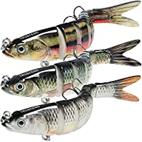 Fishing Bass Lures Multi Jointed Topwater Life-Like Trout Swimbait Hard CrankBaits (Combo-H)