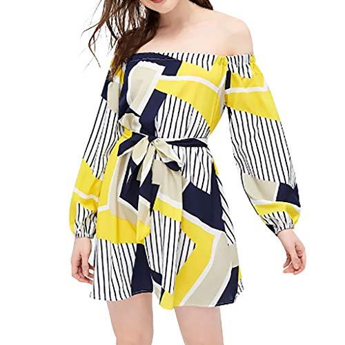 FRAUIT zomerjurk dames vrouwen boho lange mouwen casual strand bloemen jurken avondjurk knielange kort schoudervrij jurk met gestreepte print