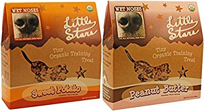 Wet Noses Little Stars Tiny Organic Dog Training Treats in 2 Flavors: (1) Peanut Butter and (1) Sweet Potato (2 Boxes Total, 9 Ounces Each)