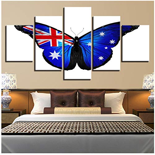 Modulare HD Gedruckt Leinwand Abstrakte Plakatrahmen 5 Stücke Schmetterling Gemälde Wandkunst Australien Flagge Bilder Wohnzimmer Decor-40x60/80/100cm
