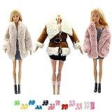 3 Agneau Manteau 3 Pantalon 3 Ceinture 10 Paire Chaussures Automne Hiver Manteau et vêtements pour 29cm poupées