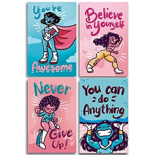 "Black Girl Wall Art – Black Girl Magic Wall Decor, Posters for Teen Girls Room, Kids Room Decor for Girls, Girls Wall Decor, Decorations for Girls Bedroom, Kids Wall Art, Set Of 4 11x17"""