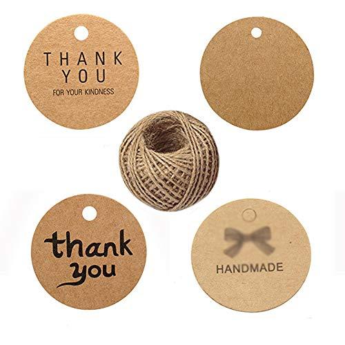400PCS Carta kraft tag Thank You Gift Tags cartellini, Homemade Etichette Rotonde ringraziamento giorno di San Valentino, matrimonio Craft Tags con iuta spago (marrone)