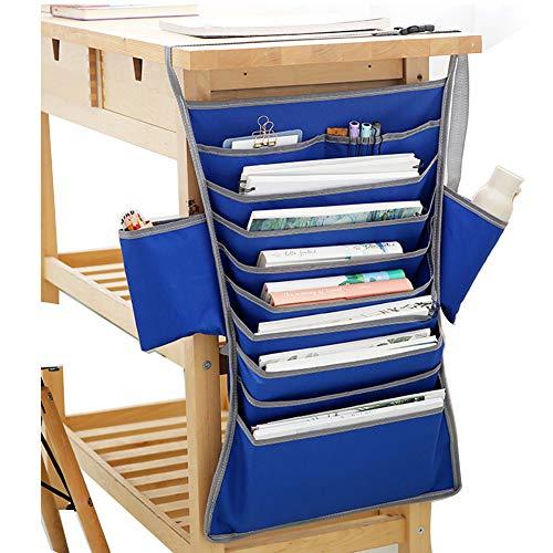 Bolsa de almacenamiento Oxford de tela para escritorio ajustable, sala de clase multifuncional para ahorrar espacio y libro de estudiante, tipo colgante, color azul