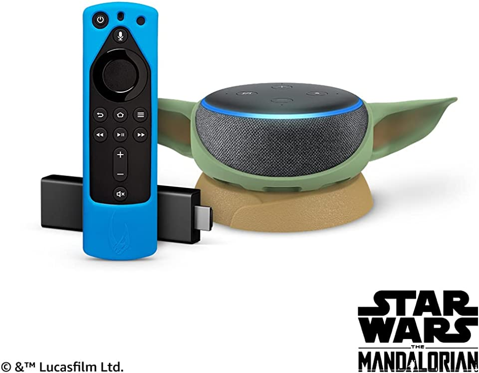 Fire TV Stick 4K and Echo Dot (3rd Gen) - Charcoal with Star Wars themed remote cover (Bounty Blue) and stand