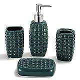 DUFU Juego de 4 Accesorios de Baño Conjunto Accesorios para Lavabo Set Incluye Jabonera Dispensador deJabón Taza Estante de Cepillo de Dientes Set para Decoracion Baño Lujoso Cerámico Verde