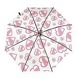 Diseño automático ligero compacto portátil del paraguas plegable del viaje de la textura del corazón rosa y alta resistencia al viento