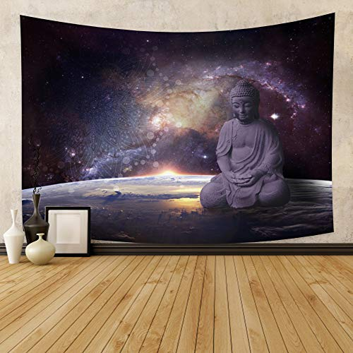 Leowefowas Room Decoration Psychedelic Tapestry Buddha Tapestry Mystic Universe Wall Hanging Living Room Bedroom Abstract Wall Art Home Decor 33.9'x27.6'
