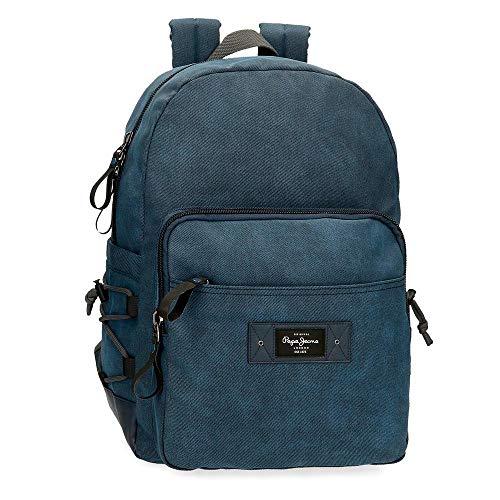 Pepe Jeans Vivac Mochila para Portátil 15,6' Azul 32x44x15 cms Algodón y PU 21,12L