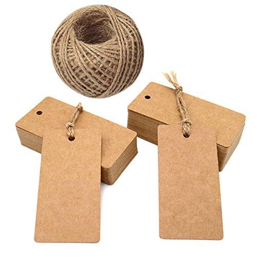 100Stk. Kraftpapier Etiketten Tags 9CM *4.5CM Geschenk Anhänger Papieranhänger Hängeetiketten Anhängeetiketten mit Jute-Schnur 30 Meter (Braun)
