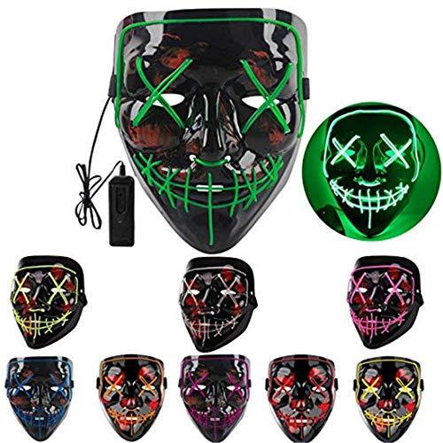 XUEE Halloweenmasker LED lichtmasker voor Halloween Festival Cosplay Halloween Kostuum Party Decoratie