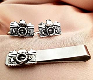 Camera lens cufflinks and tie clip bar set-Photographer Photography men's gifts