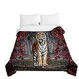 Chickwin Tagesdecke Bettüberwurf Steppdecke, 3D Tiger Drucken Sommer Tagesdecken mit Präge Wohndecke aus Mikrofaser Gesteppt Bettdecke für Einzelbett Doppelbett (Tiger,220x240cm)
