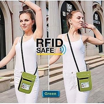 ALAIX RFID Blocking Travel Wallet Passport Holder Water Resistant Passport Bag Travel Neck Pouch with Locking Carabiner Red