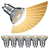 EACLL Bombilla LED GU10, 6 W, regulable, 2700 K, 475 lúmenes, sin luz estroboscópica, CA 230 V, ángulo de haz de 120°, atenuación continua mediante regulador