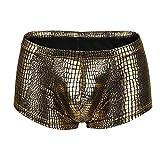 iLPM5 Homme Caleçon sous-vêtements Sexy Pantalon Slips 2019 Nouveau Marquage à Chaud Erothique Confortable Respirer Mode Pas Cher Ultra Doux Confortale Transparent Lingerie Boxer(Or,L)