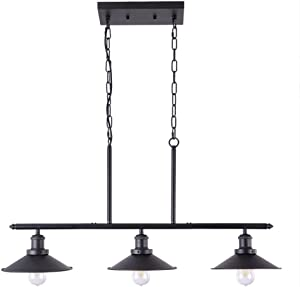 Wellmet 3 Lights Modern Pendant Lighting for Kitchen Island, Farmhouse Chandelier Dining Room Lighting Fixtures Hanging with Brushed Nickel Finish,Chandeliers Height Adjustable for Pool Table (Black)