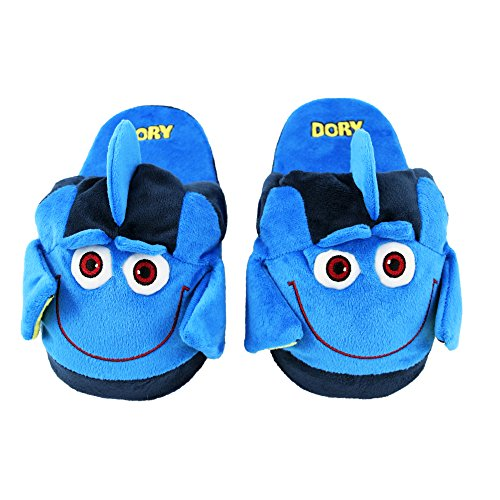 Stompeez Animated Dory Plush Slippers - Ultra Soft and Fuzzy - Fins Flap and Flutter as You Walk - Medium Blue