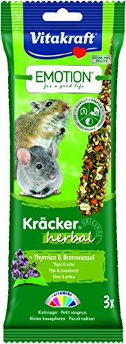 Vitakraft Mischfutter für Kleinnager, Kräcker mit Thymian und Brennessel, Emotion Kräcker Herbal, 7-er pack
