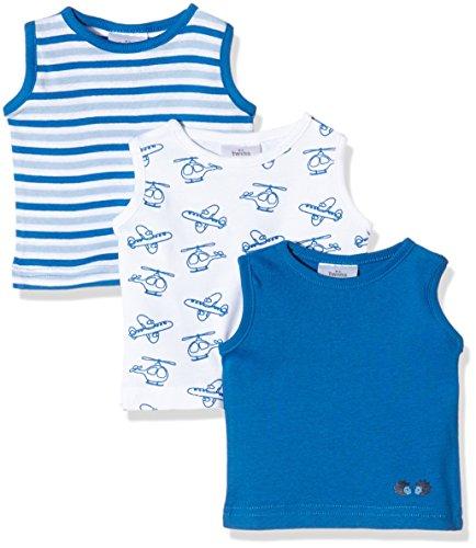 Julius Hüpeden GmbH Twins Baby-Jungen Unterhemd, 3er Pack , Mehrfarbig (Weiss/Blau 810002), 56