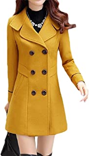Double Breasted Fall-Winter Solid Lapel Slim Woolen Trenchcoat Jacket 1 X-Large