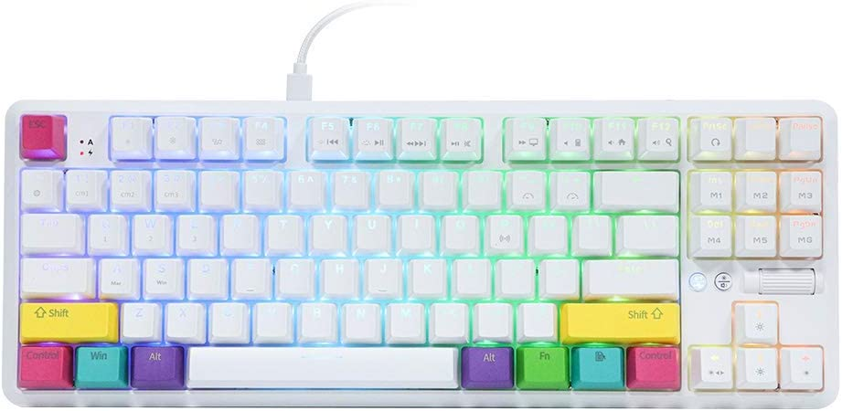 white tenkeyless computer keyboard with black legends and pink, yellow, teal, purple and green accent keys