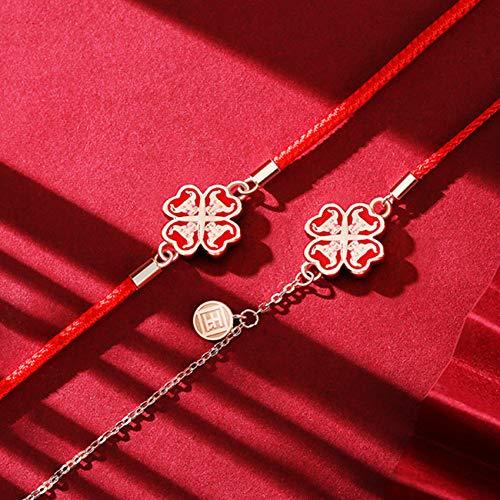 Feng Shui Lucky Bracelet Dragon Knot Cross Flower Sterling Silver S925 Año de la Pulsera de Buey Cuerda roja Mano-Tejido Brazalete Talismán para una Buena Fortuna Valorosa Lucky y Riqueza