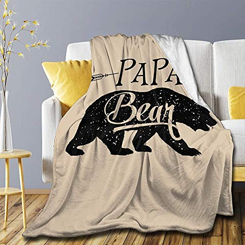 Papa Bear Throw Blanket | Lightweight Super Soft Cozy Luxury Bed Quilt | Comfortable Bedspread Decor Queen Size (Queen) 80x60in for Adults