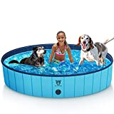 Timoo Foldable Dog Pool for Large Dogs 63 Inches Slip-Resistant Pet Pool Bathing Tub PVC Wading Pool, Collapsible Dog Swimming Pool for Outdoor & Indoor, Blue
