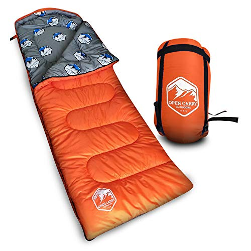Sleeping Bag – Warm & Cold 4 Season Weather for Year Round Camping, Backpacking, – Ultra Lightweight, Waterproof, Portable Envelope Sleeping Bag for Adults, Kids with Compression Carrier Sack (Orange)