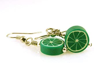 Lime Slice Dangle Earrings Polymer Clay Food Jewelry
